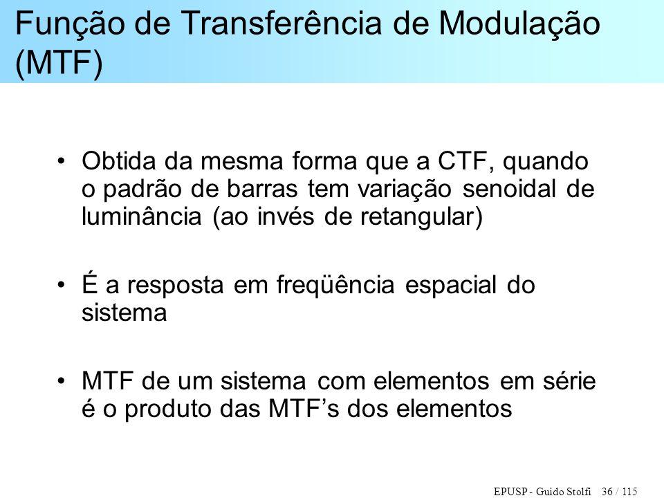 EPUSP - Guido Stolfi 36 / 115 Função de Transferência de Modulação (MTF) •Obtida da mesma forma que a CTF, quando o padrão de barras tem variação seno