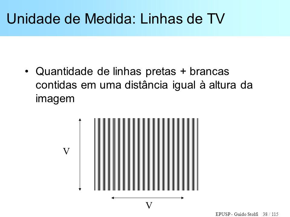 EPUSP - Guido Stolfi 38 / 115 Unidade de Medida: Linhas de TV •Quantidade de linhas pretas + brancas contidas em uma distância igual à altura da image