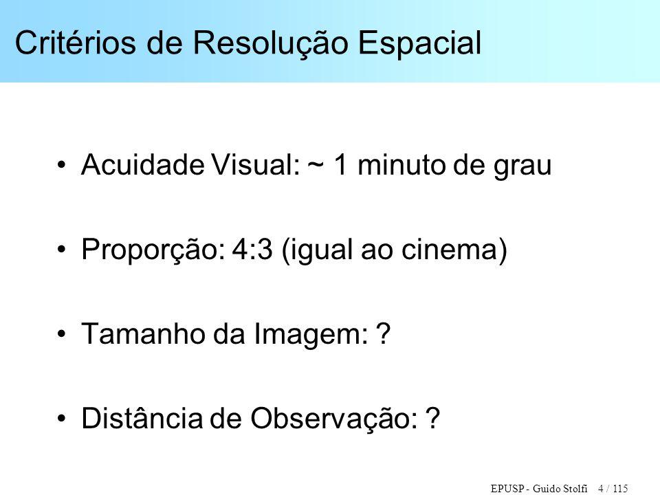 EPUSP - Guido Stolfi 4 / 115 Critérios de Resolução Espacial •Acuidade Visual: ~ 1 minuto de grau •Proporção: 4:3 (igual ao cinema) •Tamanho da Imagem