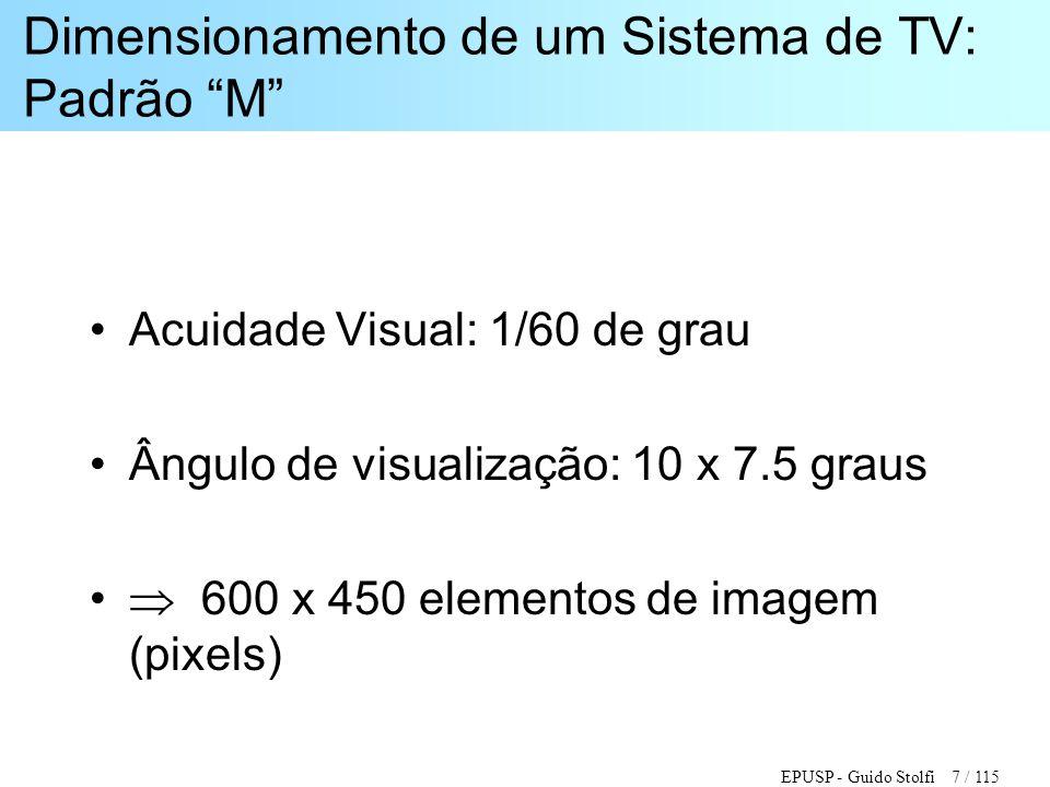 """EPUSP - Guido Stolfi 7 / 115 Dimensionamento de um Sistema de TV: Padrão """"M"""" •Acuidade Visual: 1/60 de grau •Ângulo de visualização: 10 x 7.5 graus •"""