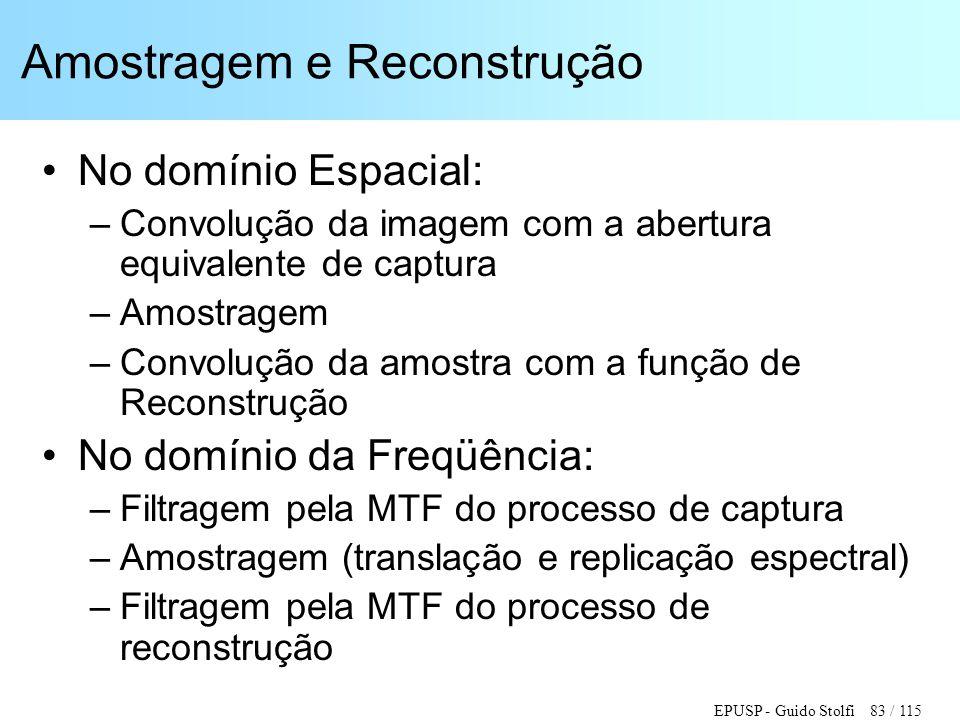 EPUSP - Guido Stolfi 83 / 115 Amostragem e Reconstrução •No domínio Espacial: –Convolução da imagem com a abertura equivalente de captura –Amostragem