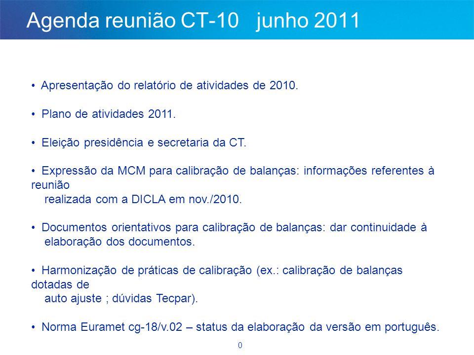 0 Agenda reunião CT-10 junho 2011 • Apresentação do relatório de atividades de 2010. • Plano de atividades 2011. • Eleição presidência e secretaria da