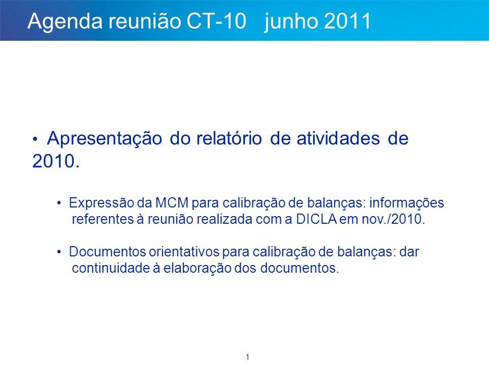 1 Agenda reunião CT-10 junho 2011 • Apresentação do relatório de atividades de 2010. • Expressão da MCM para calibração de balanças: informações refer