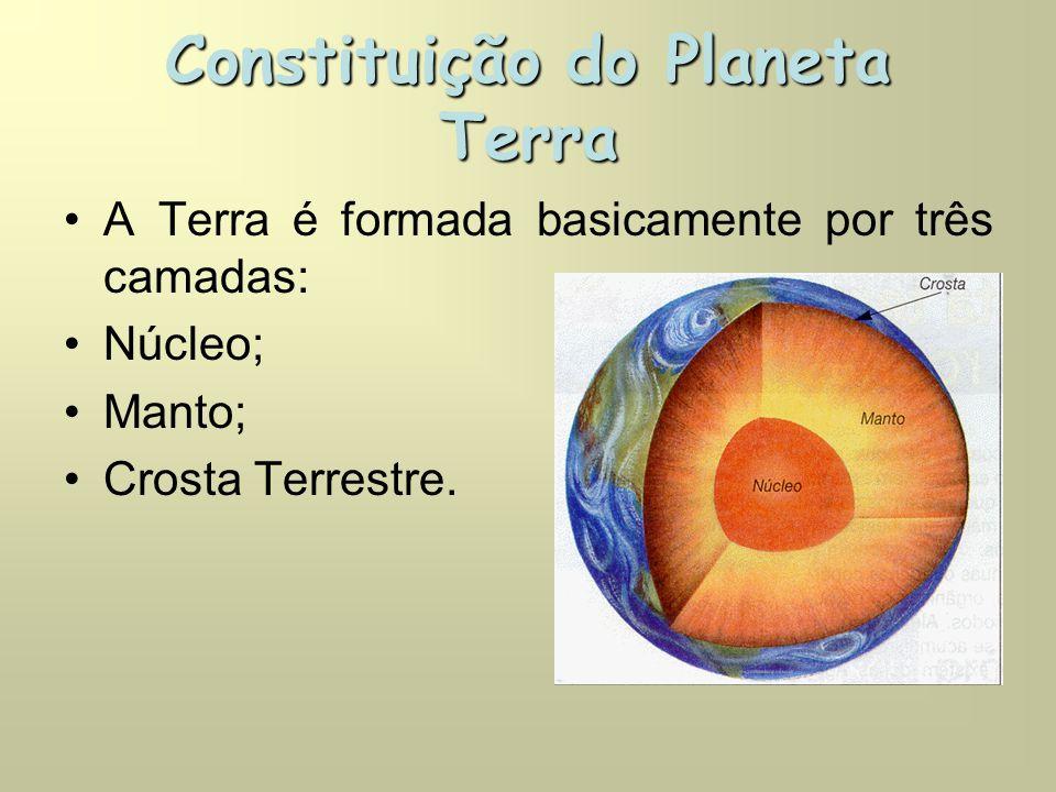 Constituição do Planeta Terra •A Terra é formada basicamente por três camadas: •Núcleo; •Manto; •Crosta Terrestre.