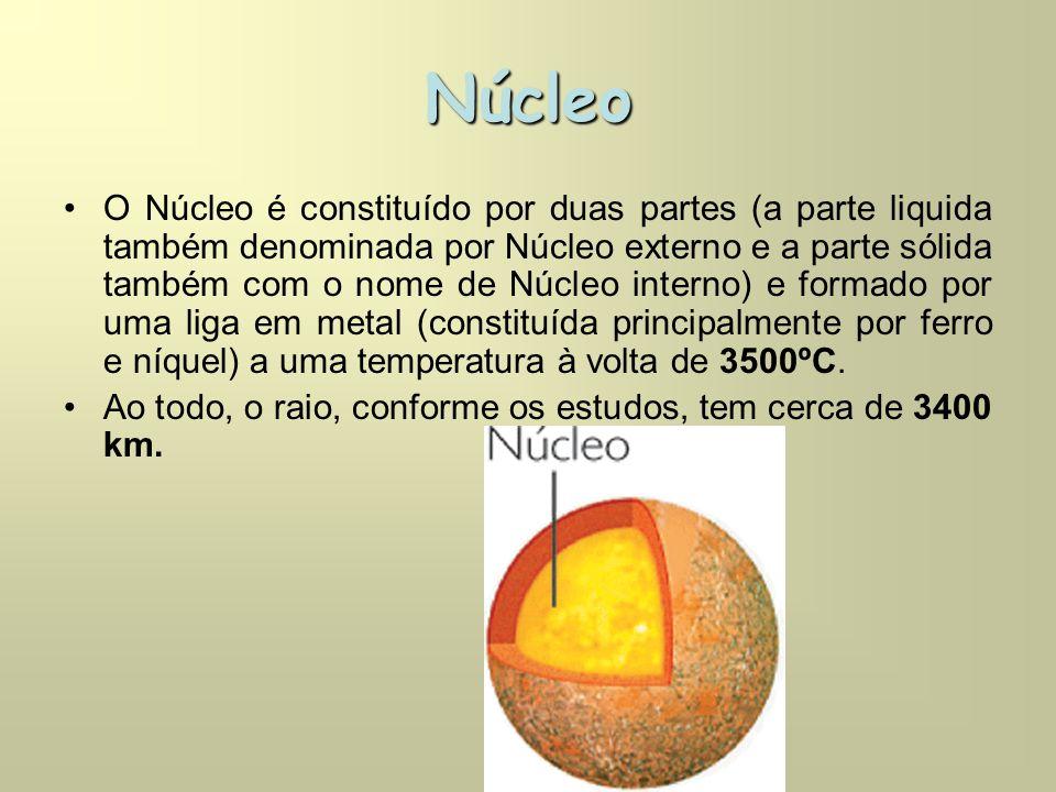 Núcleo •O Núcleo é constituído por duas partes (a parte liquida também denominada por Núcleo externo e a parte sólida também com o nome de Núcleo interno) e formado por uma liga em metal (constituída principalmente por ferro e níquel) a uma temperatura à volta de 3500ºC.