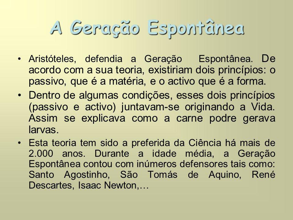 A Geração Espontânea •Aristóteles, defendia a Geração Espontânea.