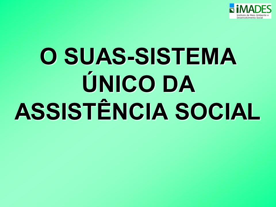Sistema Único de Assistência Social •SUAS- Reorganiza os serviços, programas, projetos e benefícios de acordo com as funções que desempenham, as pessoas que deles necessitam e sua complexidade.