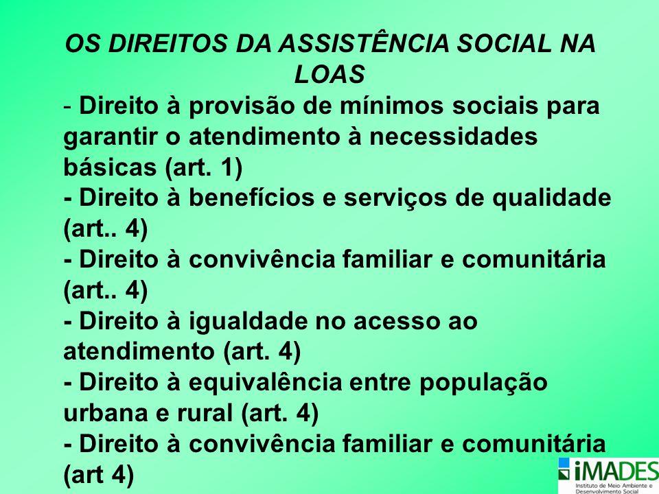 OS DIREITOS DA ASSISTÊNCIA SOCIAL NA LOAS - Direito à provisão de mínimos sociais para garantir o atendimento à necessidades básicas (art. 1) - Direit