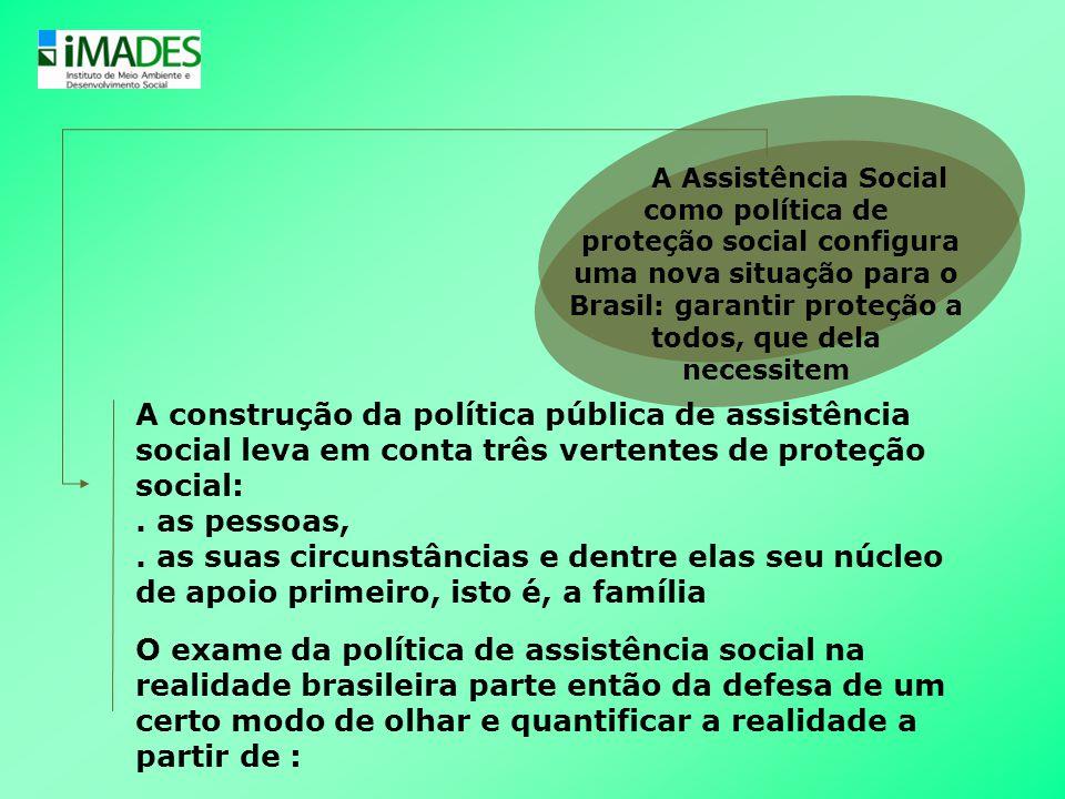 A Assistência Social como política de proteção social configura uma nova situação para o Brasil: garantir proteção a todos, que dela necessitem A cons