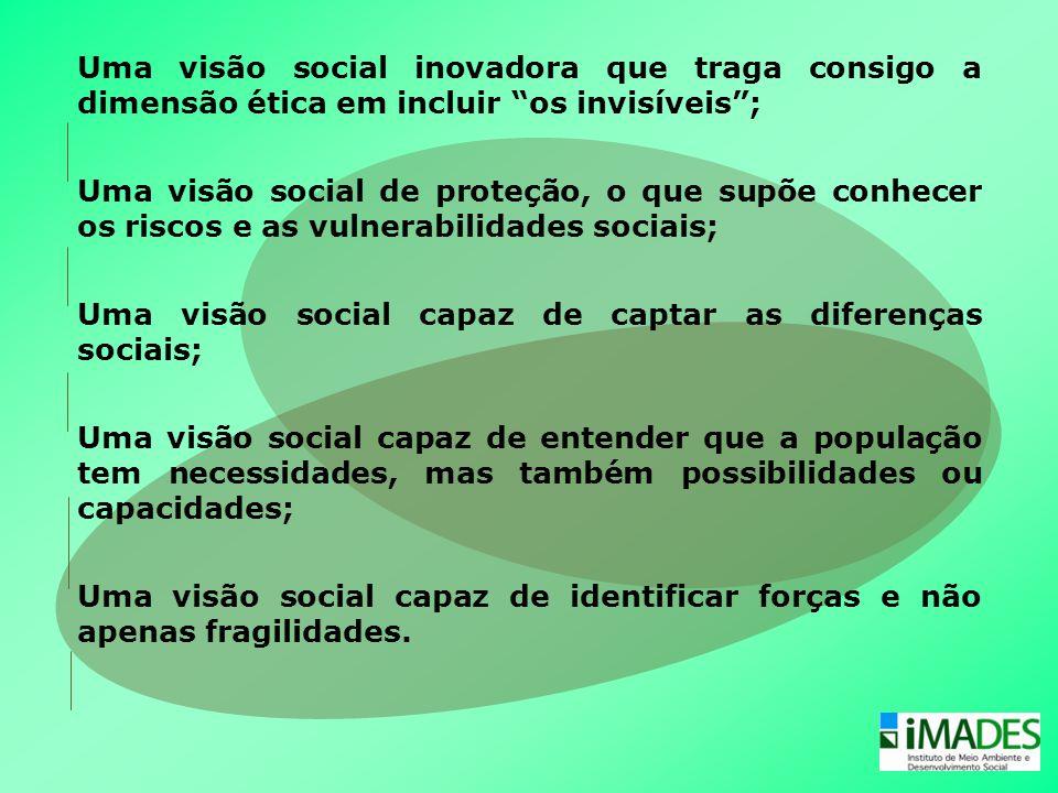 """Uma visão social inovadora que traga consigo a dimensão ética em incluir """"os invisíveis""""; Uma visão social de proteção, o que supõe conhecer os riscos"""