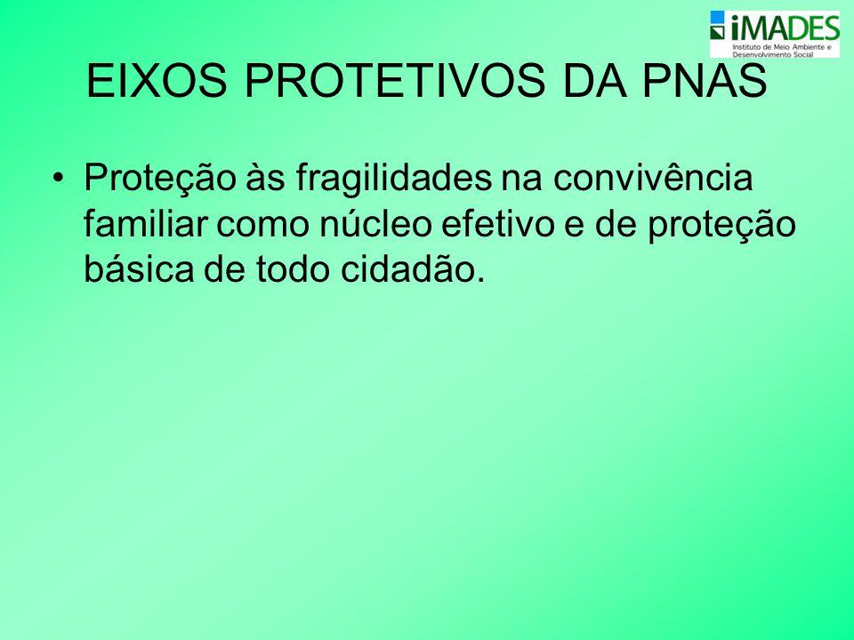 EIXOS PROTETIVOS DA PNAS •Proteção às fragilidades na convivência familiar como núcleo efetivo e de proteção básica de todo cidadão.