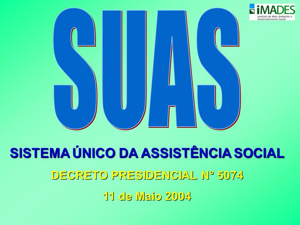 SISTEMA ÚNICO DA ASSISTÊNCIA SOCIAL DECRETO PRESIDENCIAL N° 5074 11 de Maio 2004