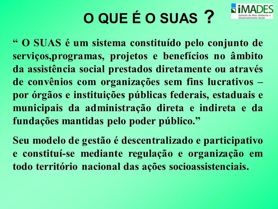 """O QUE É O SUAS ? """" O SUAS é um sistema constituído pelo conjunto de serviços,programas, projetos e benefícios no âmbito da assistência social prestado"""