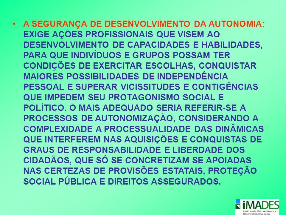•A SEGURANÇA DE DESENVOLVIMENTO DA AUTONOMIA: EXIGE AÇÕES PROFISSIONAIS QUE VISEM AO DESENVOLVIMENTO DE CAPACIDADES E HABILIDADES, PARA QUE INDIVÍDUOS