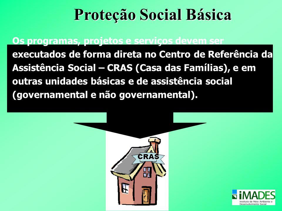 Centro de Referência da Assistência Social – CRAS Os programas, projetos e serviços devem ser executados de forma direta no Centro de Referência da As