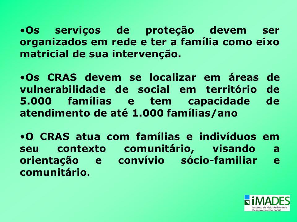 •Os serviços de proteção devem ser organizados em rede e ter a família como eixo matricial de sua intervenção. •Os CRAS devem se localizar em áreas de