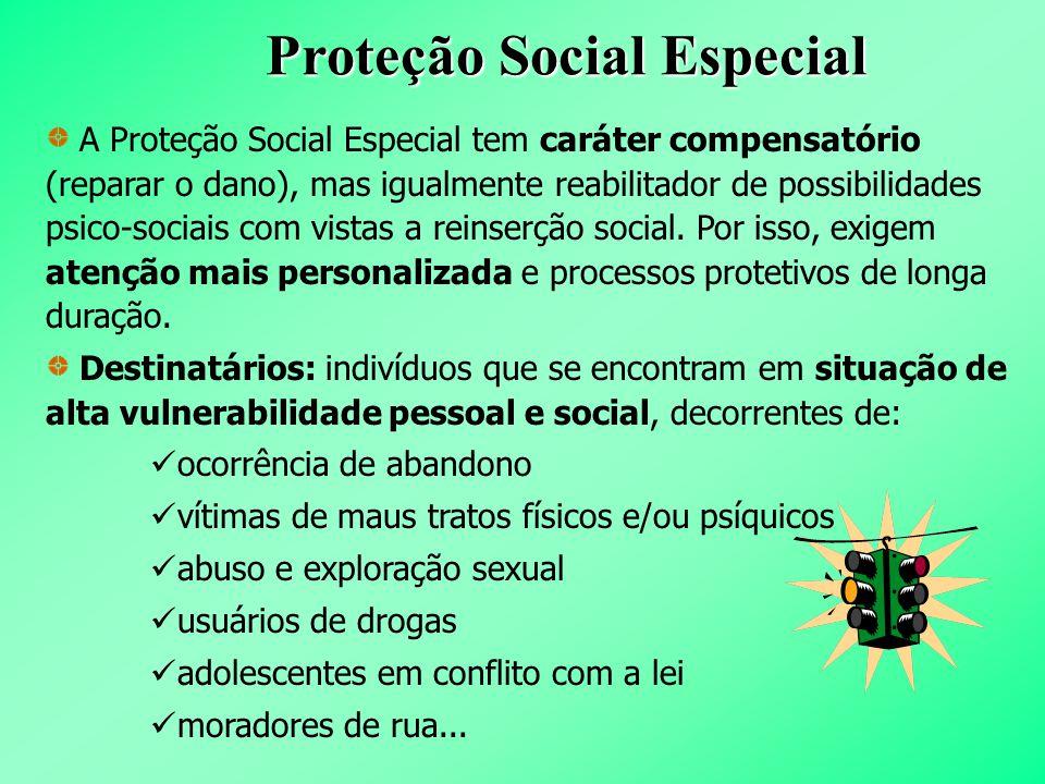 Proteção Social Especial A Proteção Social Especial tem caráter compensatório (reparar o dano), mas igualmente reabilitador de possibilidades psico-so