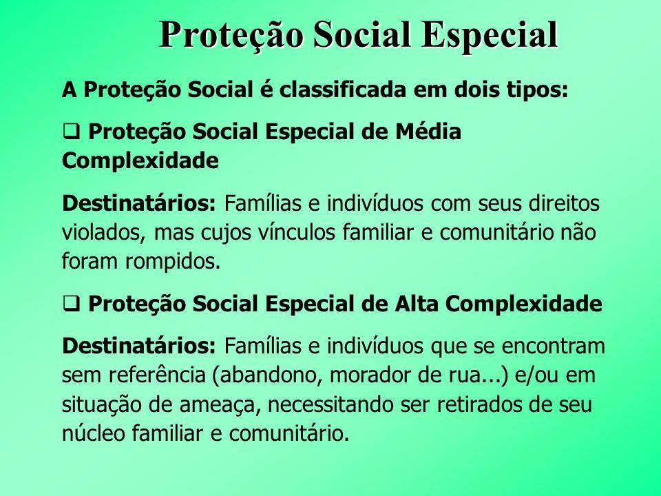 Proteção Social Especial A Proteção Social é classificada em dois tipos:  Proteção Social Especial de Média Complexidade Destinatários: Famílias e in