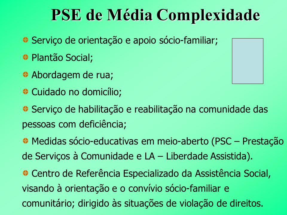 PSE de Média Complexidade Serviço de orientação e apoio sócio-familiar; Plantão Social; Abordagem de rua; Cuidado no domicílio; Serviço de habilitação