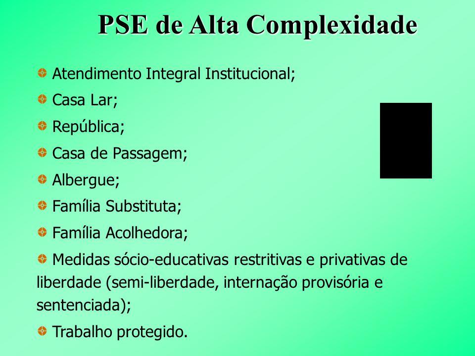 PSE de Alta Complexidade Atendimento Integral Institucional; Casa Lar; República; Casa de Passagem; Albergue; Família Substituta; Família Acolhedora;
