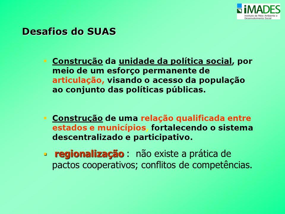 Desafios do SUAS  Construção da unidade da política social, por meio de um esforço permanente de articulação, visando o acesso da população ao conjun