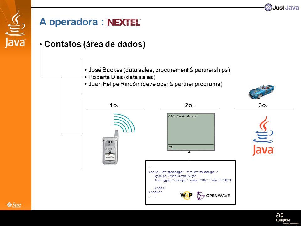 A operadora : • Contatos (área de dados) • José Backes (data sales, procurement & partnerships) • Roberta Dias (data sales) • Juan Felipe Rincón (deve