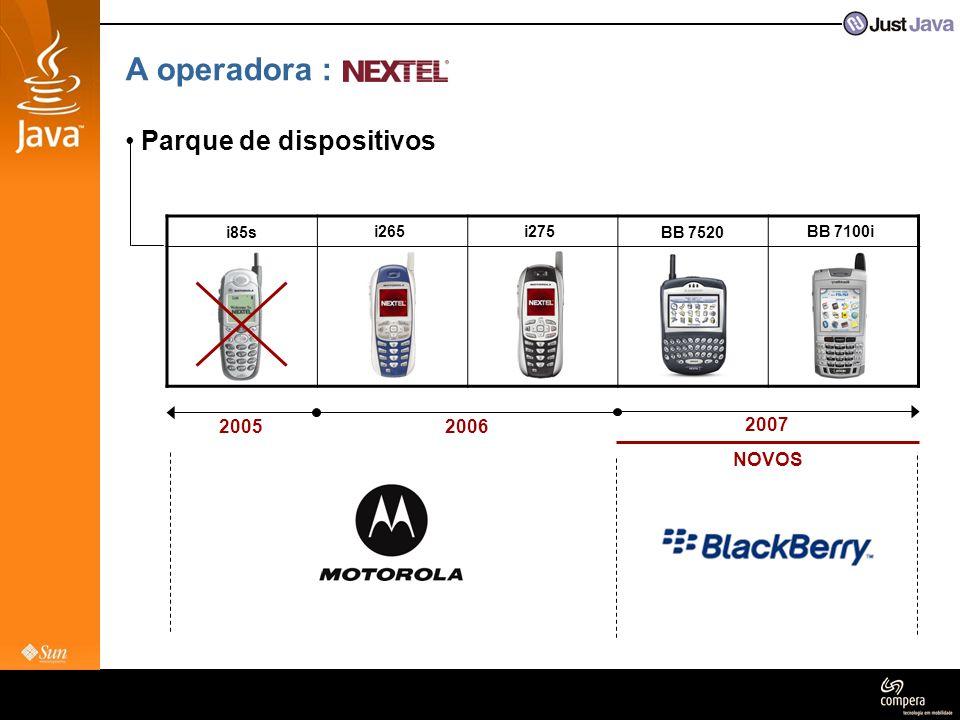 Dicas • Deploy de MIDlets OTA não : ainda não implementado na rede do Brasil : o tráfego de JAD/JAR não é possível nos aparelhos Motorola : é uma opção, apesar de não constar nos aparelhos iDEN : RS232 – é a opção indicada para os nossos clientes Download Apps http://nol.nextel.com.br/w_nxt_portal_java_br.aspx