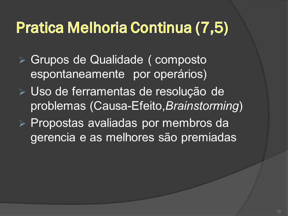  Grupos de Qualidade ( composto espontaneamente por operários)  Uso de ferramentas de resolução de problemas (Causa-Efeito,Brainstorming)  Proposta