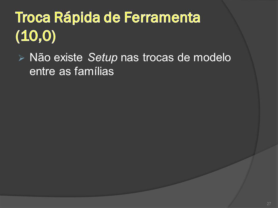  Não existe Setup nas trocas de modelo entre as famílias 27