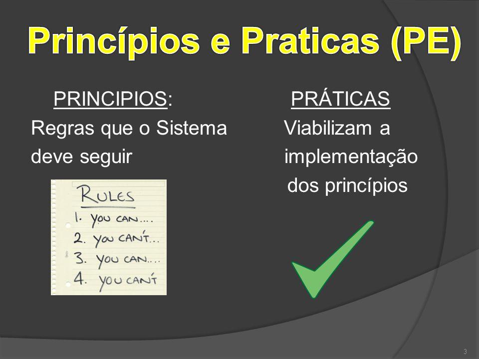 PRINCIPIOS: PRÁTICAS Regras que o Sistema Viabilizam a deve seguir implementação dos princípios 3