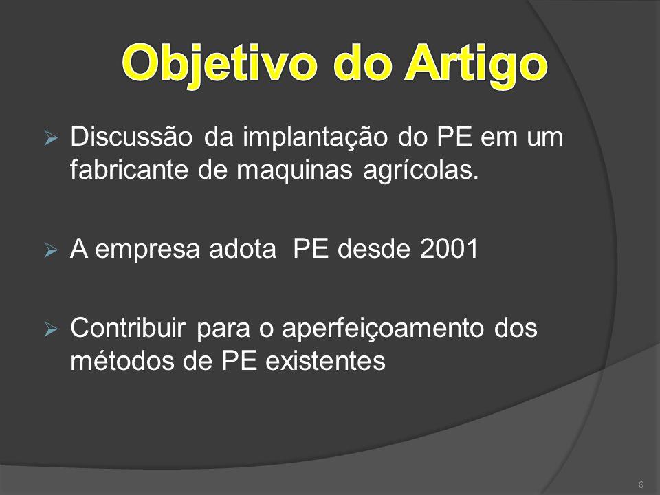  Discussão da implantação do PE em um fabricante de maquinas agrícolas.  A empresa adota PE desde 2001  Contribuir para o aperfeiçoamento dos métod
