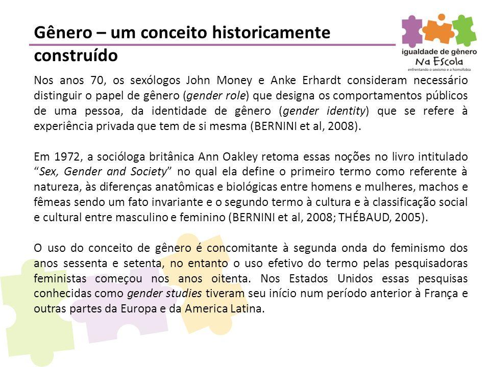 Nos anos 70, os sexólogos John Money e Anke Erhardt consideram necessário distinguir o papel de gênero (gender role) que designa os comportamentos púb