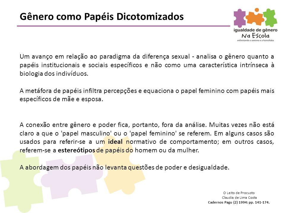Gênero como Papéis Dicotomizados Um avanço em relação ao paradigma da diferença sexual - analisa o gênero quanto a papéis institucionais e sociais esp
