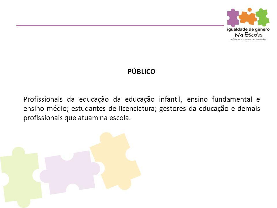 PÚBLICO Profissionais da educação da educação infantil, ensino fundamental e ensino médio; estudantes de licenciatura; gestores da educação e demais p