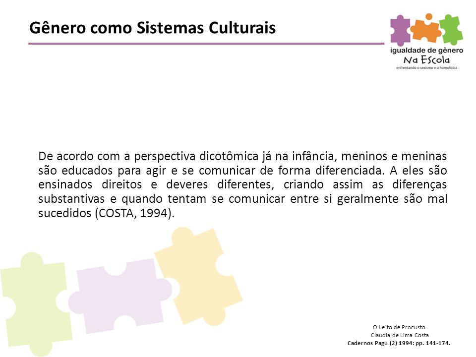 Gênero como Sistemas Culturais O Leito de Procusto Claudia de Lima Costa Cadernos Pagu (2) 1994: pp. 141-174. De acordo com a perspectiva dicotômica j