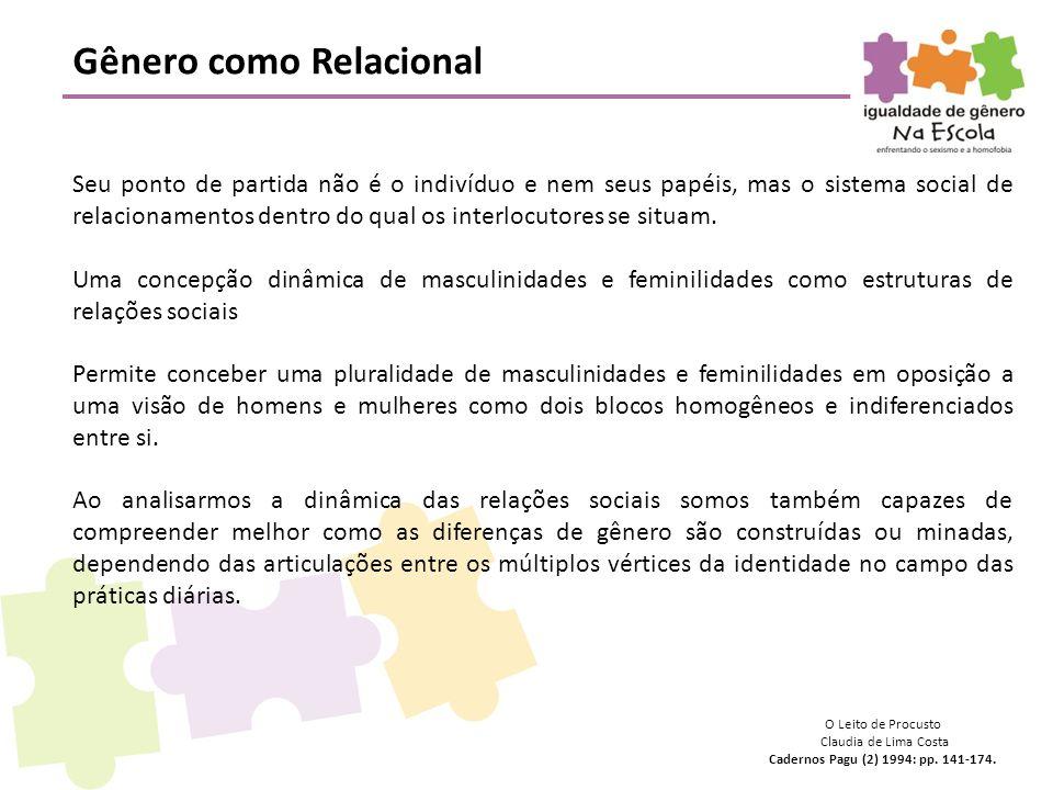 Gênero como Relacional Seu ponto de partida não é o indivíduo e nem seus papéis, mas o sistema social de relacionamentos dentro do qual os interlocuto