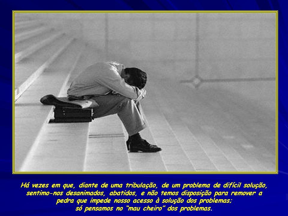 Há vezes em que, diante de uma tribulação, de um problema de difícil solução, sentimo-nos desanimados, abatidos, e não temos disposição para remover a pedra que impede nosso acesso à solução dos problemas; só pensamos no mau cheiro dos problemas.