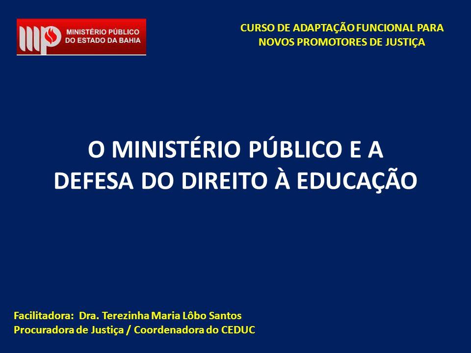 Facilitadora: Dra. Terezinha Maria Lôbo Santos Procuradora de Justiça / Coordenadora do CEDUC CURSO DE ADAPTAÇÃO FUNCIONAL PARA NOVOS PROMOTORES DE JU
