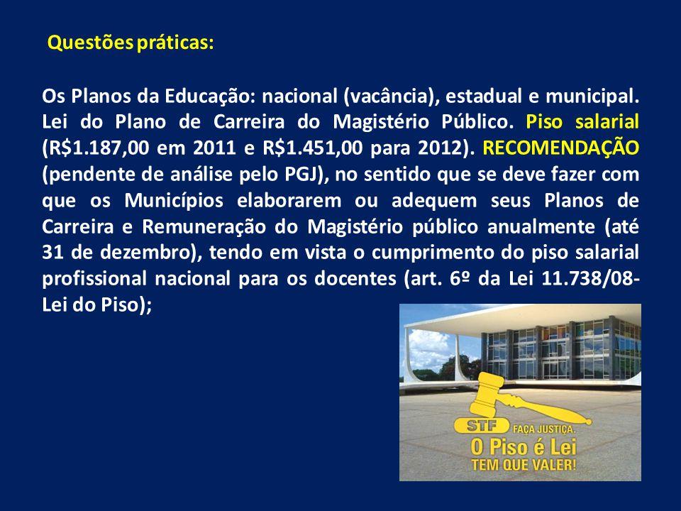 Os Planos da Educação: nacional (vacância), estadual e municipal. Lei do Plano de Carreira do Magistério Público. Piso salarial (R$1.187,00 em 2011 e