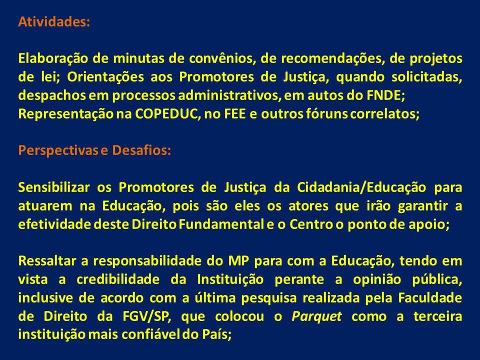 Atividades: Elaboração de minutas de convênios, de recomendações, de projetos de lei; Orientações aos Promotores de Justiça, quando solicitadas, despa