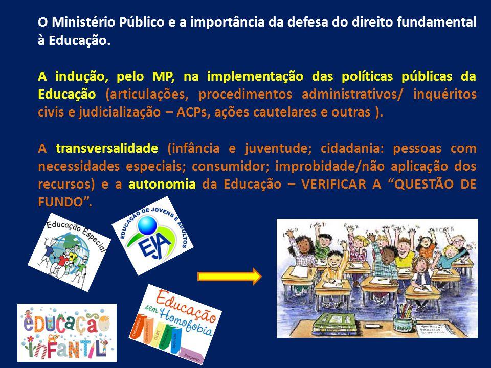 O Ministério Público e a importância da defesa do direito fundamental à Educação. A indução, pelo MP, na implementação das políticas públicas da Educa