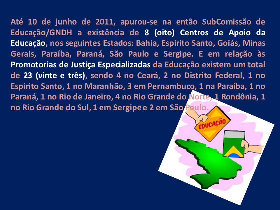 Até 10 de junho de 2011, apurou-se na então SubComissão de Educação/GNDH a existência de 8 (oito) Centros de Apoio da Educação, nos seguintes Estados: