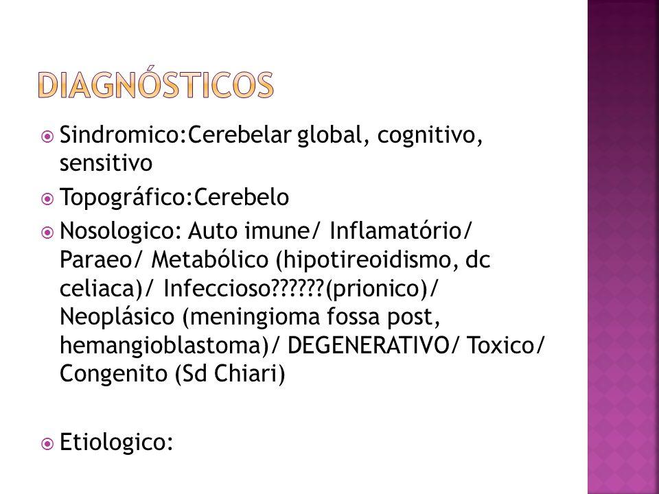  Sindromico:Cerebelar global, cognitivo, sensitivo  Topográfico:Cerebelo  Nosologico: Auto imune/ Inflamatório/ Paraeo/ Metabólico (hipotireoidismo