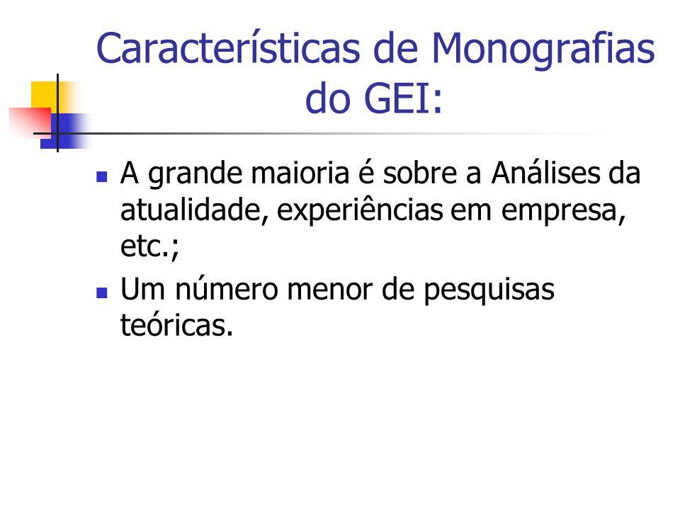 Características de Monografias do GEI:  A grande maioria é sobre a Análises da atualidade, experiências em empresa, etc.;  Um número menor de pesquisas teóricas.