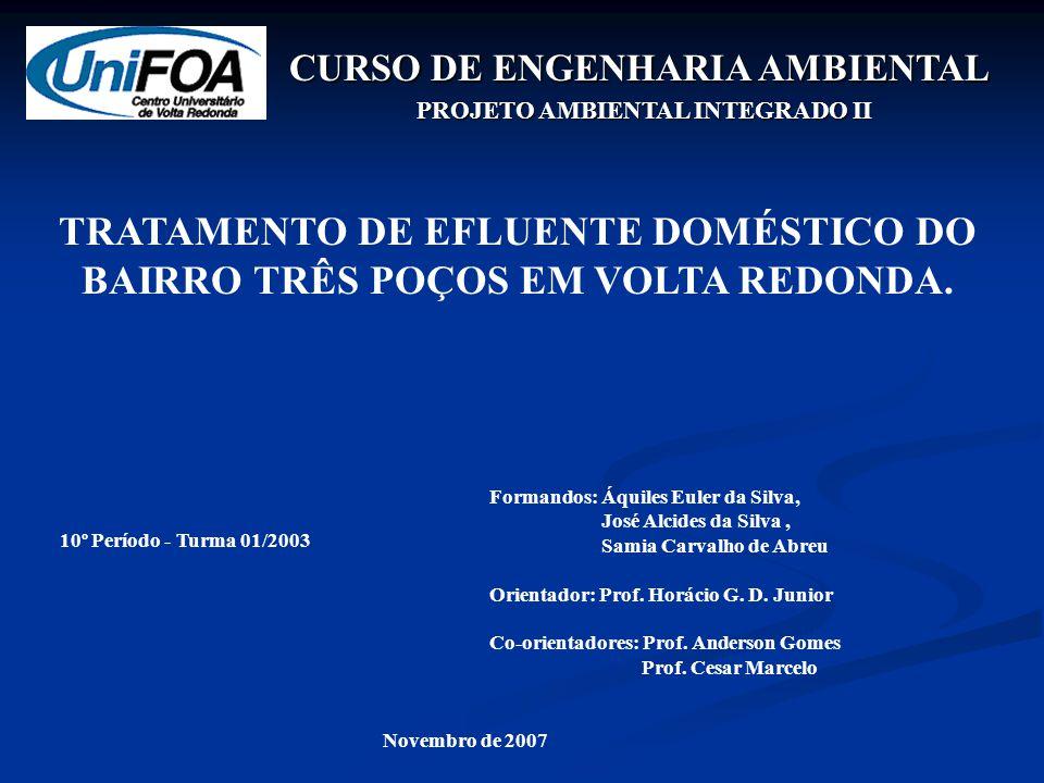 CURSO DE ENGENHARIA AMBIENTAL PROJETO AMBIENTAL INTEGRADO II Formandos: Áquiles Euler da Silva, José Alcides da Silva, Samia Carvalho de Abreu Orientador: Prof.