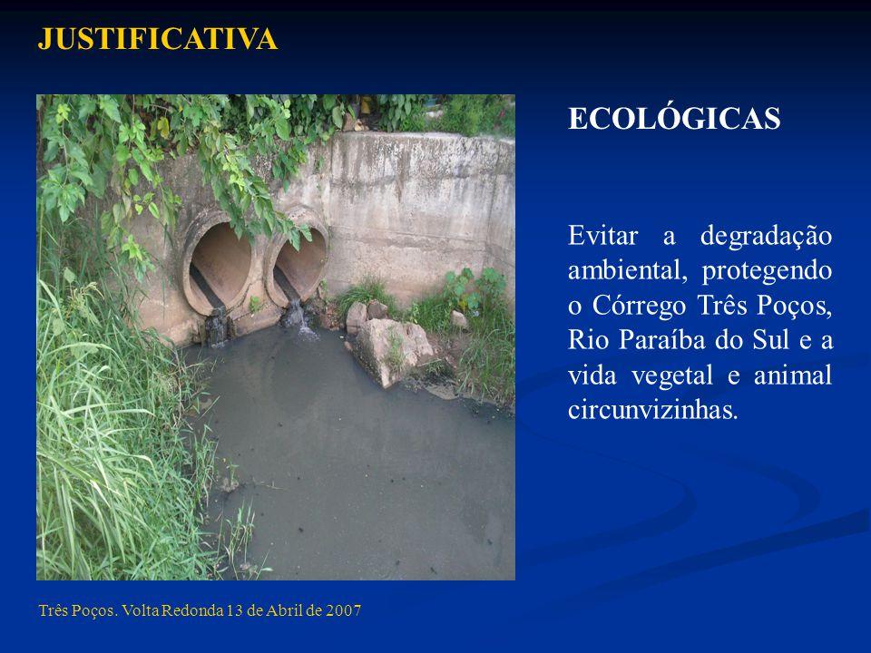 Três Poços. Volta Redonda 13 de Abril de 2007 ECOLÓGICAS JUSTIFICATIVA Evitar a degradação ambiental, protegendo o Córrego Três Poços, Rio Paraíba do