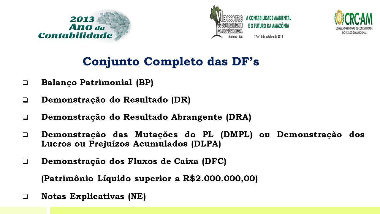 Conjunto Completo das DF's  Balanço Patrimonial (BP)  Demonstração do Resultado (DR)  Demonstração do Resultado Abrangente (DRA)  Demonstração das