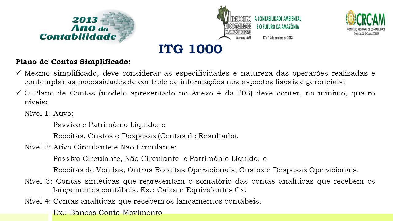 ITG 1000 Plano de Contas Simplificado:  Mesmo simplificado, deve considerar as especificidades e natureza das operações realizadas e contemplar as ne