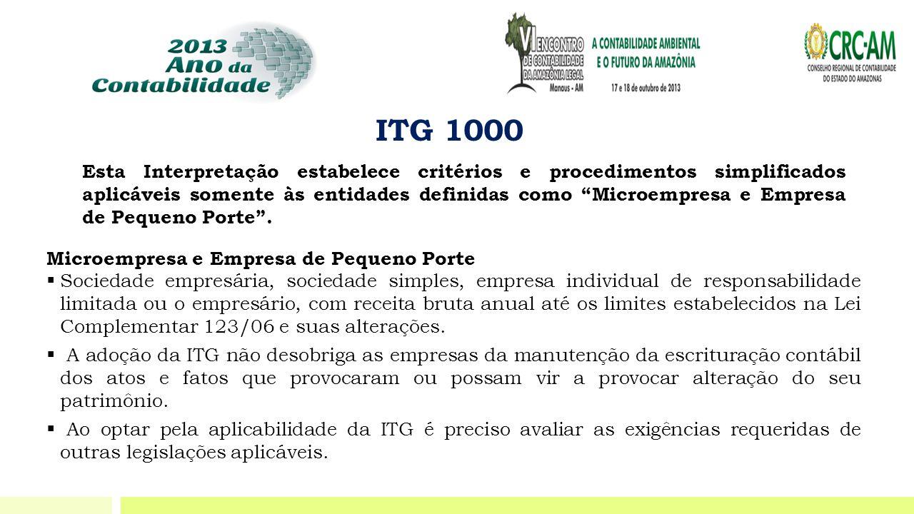 """ITG 1000 Esta Interpretação estabelece critérios e procedimentos simplificados aplicáveis somente às entidades definidas como """"Microempresa e Empresa"""