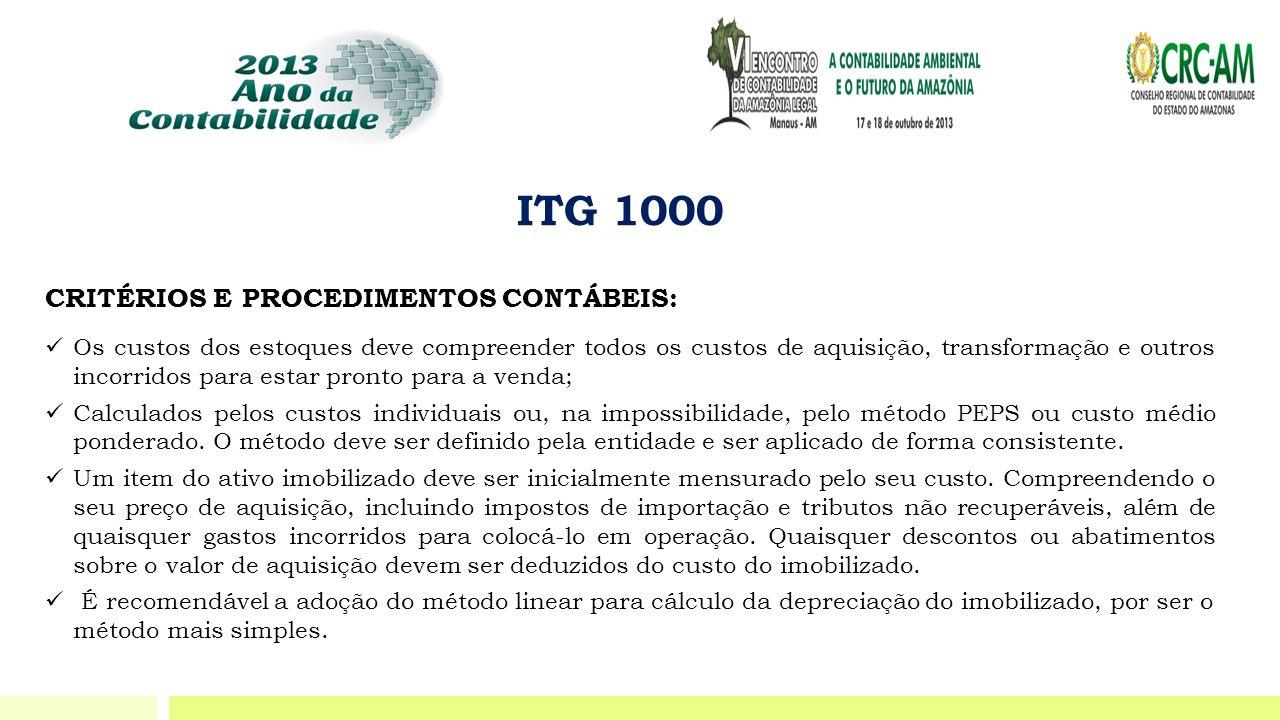 ITG 1000 CRITÉRIOS E PROCEDIMENTOS CONTÁBEIS:  Os custos dos estoques deve compreender todos os custos de aquisição, transformação e outros incorrido
